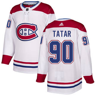 Men's  Montreal Canadiens #90 Tomas Tatar White Road  Stitched Hockey Jersey