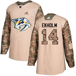 Men's  Nashville Predators #14 Mattias Ekholm Camo  2017 Veterans Day Stitched Hockey Jersey
