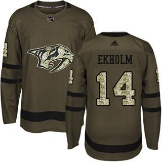 Men's  Nashville Predators #14 Mattias Ekholm Green Salute to Service Stitched Hockey Jersey