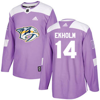 Men's  Nashville Predators #14 Mattias Ekholm Purple  Fights Cancer Stitched Hockey Jersey