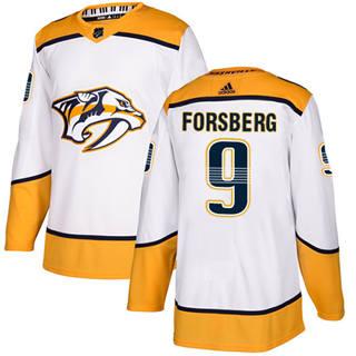 Men's  Nashville Predators #9 Filip Forsberg White Road  Stitched Hockey Jersey