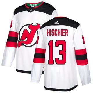 Men's  New Jersey Devils #13 Nico Hischier White Road  Stitched Hockey Jersey
