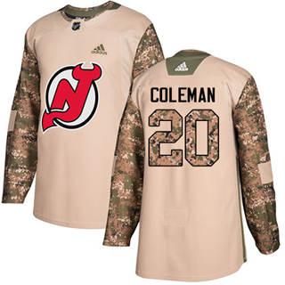 Men's  New Jersey Devils #20 Blake Coleman Camo  2017 Veterans Day Stitched Hockey Jersey