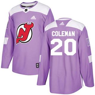 Men's  New Jersey Devils #20 Blake Coleman Purple  Fights Cancer Stitched Hockey Jersey