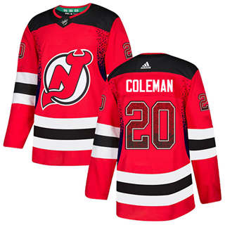 Men's  New Jersey Devils #20 Blake Coleman Red Home  Drift Fashion Stitched Hockey Jersey