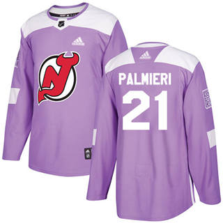 Men's  New Jersey Devils #21 Kyle Palmieri Purple  Fights Cancer Stitched Hockey Jersey