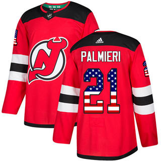 Men's  New Jersey Devils #21 Kyle Palmieri Red Home  USA Flag Stitched Hockey Jersey