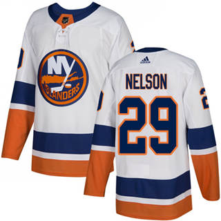 Men's  New York Islanders #29 Brock Nelson White Road  Stitched Hockey Jersey