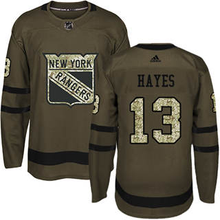 Men's  New York Rangers #13 Kevin Hayes Green Salute to Service Stitched Hockey Jersey