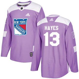Men's  New York Rangers #13 Kevin Hayes Purple  Fights Cancer Stitched Hockey Jersey