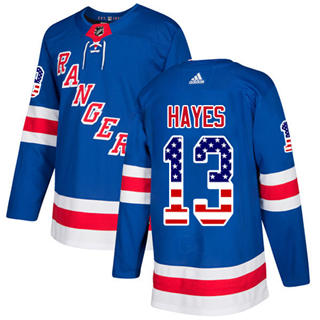 Men's  New York Rangers #13 Kevin Hayes Royal Blue Home  USA Flag Stitched Hockey Jersey