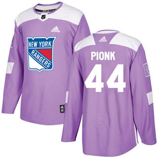 Men's  New York Rangers #44 Neal Pionk Purple  Fights Cancer Stitched Hockey Jersey