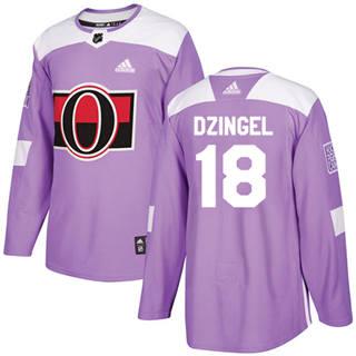 Men's  Ottawa Senators #18 Ryan Dzingel Purple  Fights Cancer Stitched Hockey Jersey