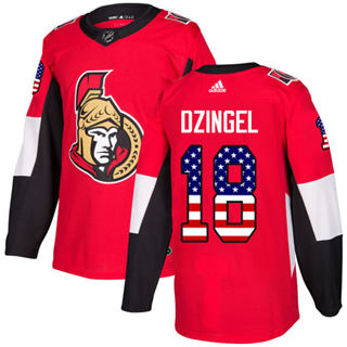 Men's  Ottawa Senators #18 Ryan Dzingel Red Home  USA Flag Stitched Hockey Jersey