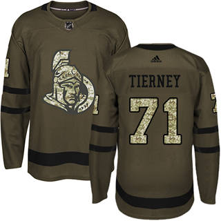 Men's  Ottawa Senators #71 Chris Tierney Green Salute to Service Stitched Hockey Jersey