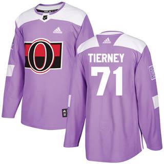 Men's  Ottawa Senators #71 Chris Tierney Purple  Fights Cancer Stitched Hockey Jersey
