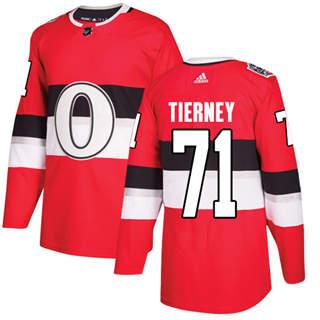 Men's  Ottawa Senators #71 Chris Tierney Red  2017 100 Classic Stitched Hockey Jersey