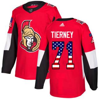 Men's  Ottawa Senators #71 Chris Tierney Red Home  USA Flag Stitched Hockey Jersey