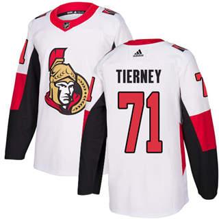 Men's  Ottawa Senators #71 Chris Tierney White Road  Stitched Hockey Jersey