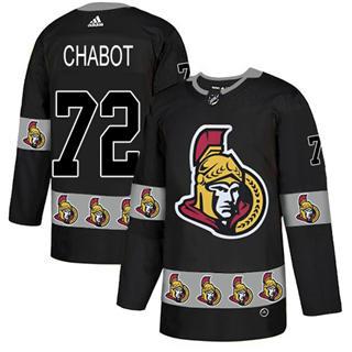 Men's  Ottawa Senators #72 Thomas Chabot Black  Team Logo Fashion Stitched Hockey Jersey