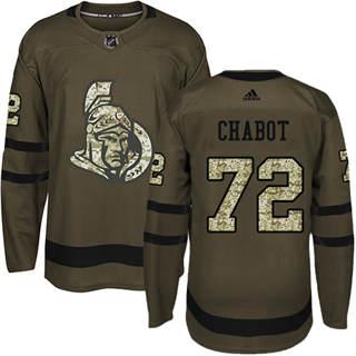 Men's  Ottawa Senators #72 Thomas Chabot Green Salute to Service Stitched Hockey Jersey