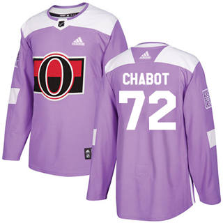Men's  Ottawa Senators #72 Thomas Chabot Purple  Fights Cancer Stitched Hockey Jersey