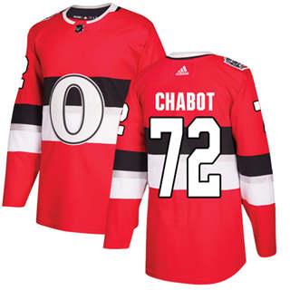 Men's  Ottawa Senators #72 Thomas Chabot Red  2017 100 Classic Stitched Hockey Jersey