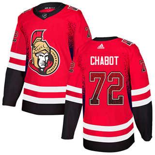 Men's  Ottawa Senators #72 Thomas Chabot Red Home  Drift Fashion Stitched Hockey Jersey