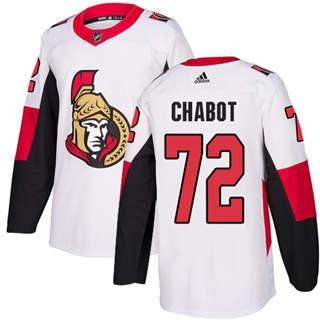 Men's  Ottawa Senators #72 Thomas Chabot White Road  Stitched Hockey Jersey