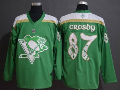 Men's  Pittsburgh Penguins #87 Sidney Crosby Green 2019 St. Patrick's Day Hockey Jersey