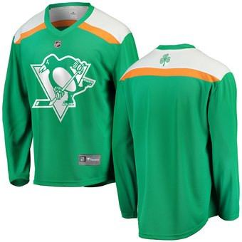 Men's  Pittsburgh Penguins Blank Green 2019 St. Patrick's Day Hockey Jersey