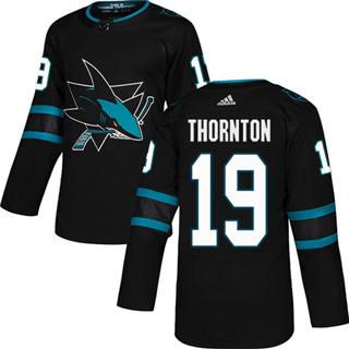 Men's  San Jose Sharks #19 Joe Thornton Black Alternate  Stitched Hockey Jersey