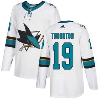 Men's  San Jose Sharks #19 Joe Thornton White Road  Stitched Hockey Jersey