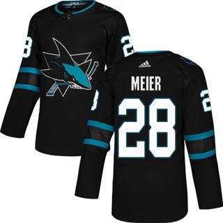 Men's  San Jose Sharks #28 Timo Meier Black Alternate  Stitched Hockey Jersey
