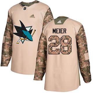 Men's  San Jose Sharks #28 Timo Meier Camo  2017 Veterans Day Stitched Hockey Jersey