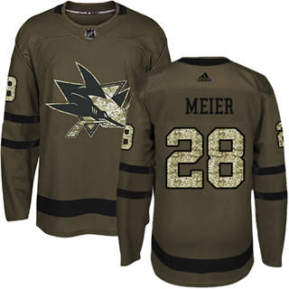 Men's  San Jose Sharks #28 Timo Meier Green Salute to Service Stitched Hockey Jersey