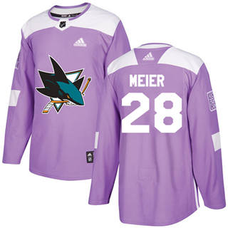 Men's  San Jose Sharks #28 Timo Meier Purple  Fights Cancer Stitched Hockey Jersey