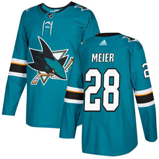 Men's  San Jose Sharks #28 Timo Meier Teal Home  Stitched Hockey Jersey