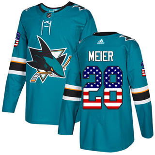 Men's  San Jose Sharks #28 Timo Meier Teal Home  USA Flag Stitched Hockey Jersey