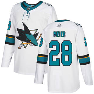 Men's  San Jose Sharks #28 Timo Meier White Road  Stitched Hockey Jersey