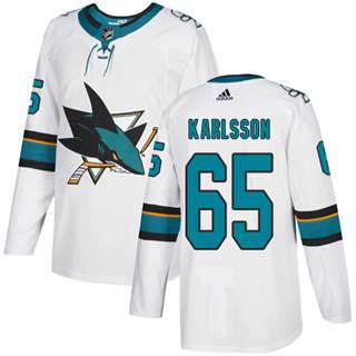 Men's  San Jose Sharks #65 Erik Karlsson White Road  Stitched Hockey Jersey