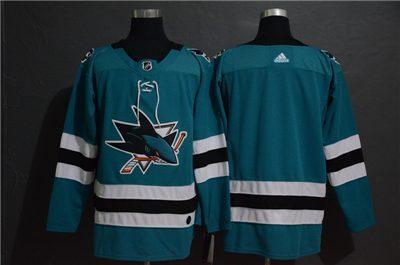 Men's  Sharks Blank Teal Stitched Hockey Hockey Jersey