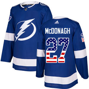 Men's  Tampa Bay Lightning #27 Ryan McDonagh Blue Home  USA Flag Stitched Hockey Jersey