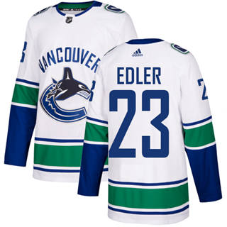 Men's  Vancouver Canucks #23 Alexander Edler White Road  Stitched Hockey Jersey