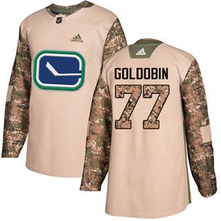 Men's  Vancouver Canucks #77 Nikolay Goldobin Camo  2017 Veterans Day Stitched Hockey Jersey