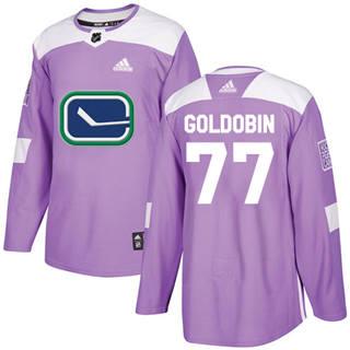 Men's  Vancouver Canucks #77 Nikolay Goldobin Purple  Fights Cancer Stitched Hockey Jersey