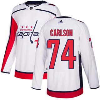 Men's  Washington Capitals #74 John Carlson White Road  Stitched Hockey Jersey