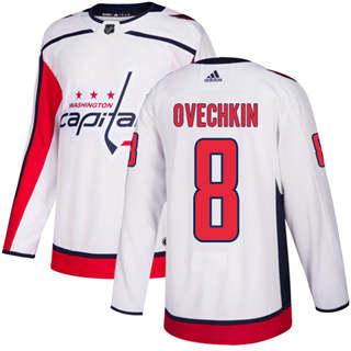 Men's  Washington Capitals #8 Alex Ovechkin White Road  Stitched Hockey Jersey