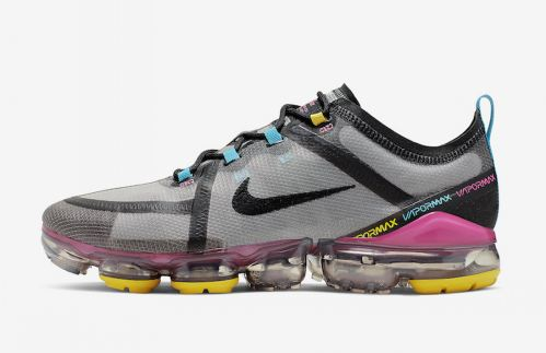 Men's Air VaporMax 2019 Sports Shoes Moon Particle Pink Blast Blue Lagoon Black CI9891-200