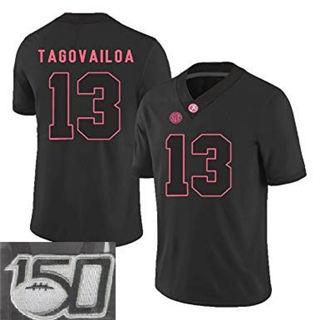 Men's Alabama Crimson Tide #13 Tua Tagovailoa Black 150th Patch College Football Jersey